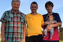 BRANKÁŘSKÝ ROD – Pavel Heimrath nejstarší chytal třetí ligu v Kralupech, starší působil jako mládežník na Spartě, mladší neporušil tradici a je jedničkou Vojkovic v I. B třídě.