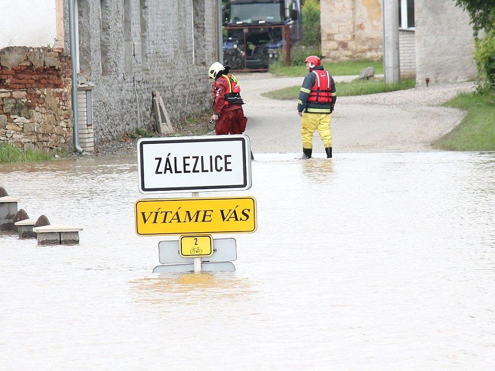 Povodně v Zálezlicích.