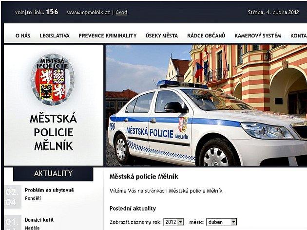 Webové stránky Městské policie Mělník.