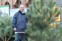 Milan Kocourek prodává stromky na mělnickém náměstí Karla IV.