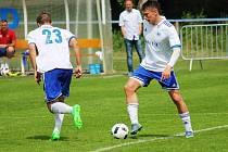 Střelic libišských gólů skvěle spolupracují i na hřišti. Vlevo Ivan Baratynskyy a vpravo Tomáš Petr.