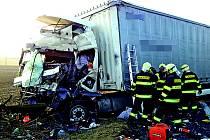 Nehoda dvou kamionů u Vavřinče.