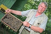 Včelař Jaromír Kratochvíl z Byšic si život bez včel nedokáže představit.