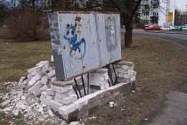 Rozbouraný telefonní rozvod v Mělníku.