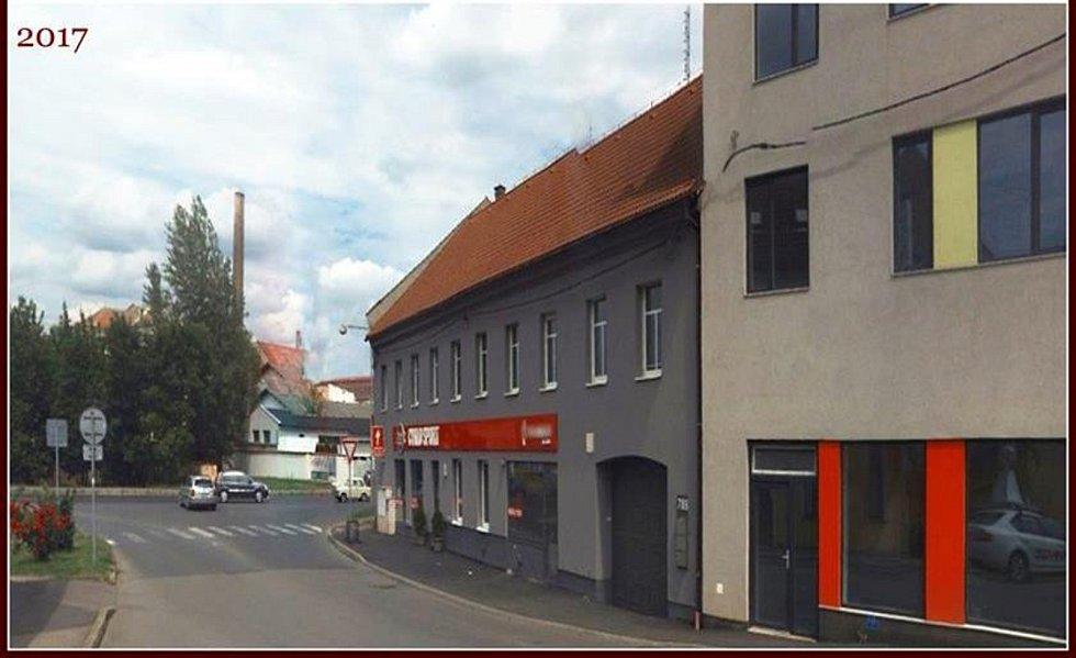 Ulice Legionářů a Bezručova, pak pokračuje jako Českolipská v dnešní době. V pozadí je dům, kde býval panský dvůr a pivovar.