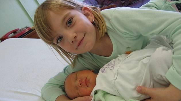 Jan Pelant se rodičům Andree a Janovi z Horních Počapel narodil 17. října 2007, vážil 3,15 kg a měřil 47 cm. Na snímku se 7letou setřičkou Aničkou.