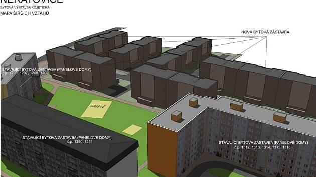 Nové šestipatrové bytovky mají vyrůst proti stávajícím panelákům.