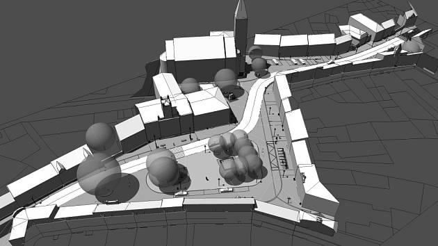 Návrh nové podoby centra města Mšena