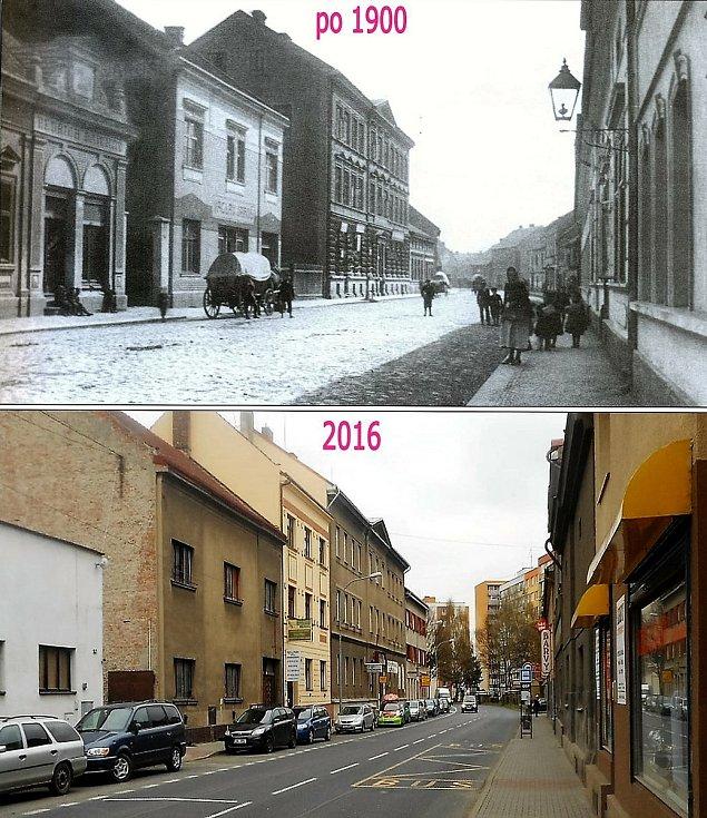 Přemyslova ulice. Vysoký dům vlevo patřil okresnímu úřadu, kralupští mu říkali hejtmanství. Vlevo kus domu řezníka Reicherta.