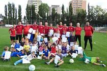 Účastníci zářijového náboru nových fotbalových talentů na stadionu FK Neratovice/Byškovice