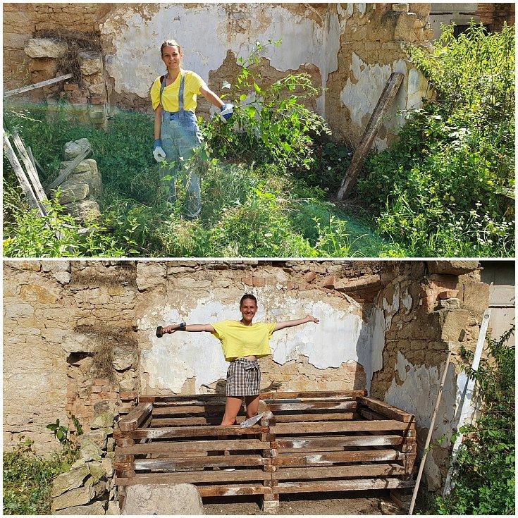 Dobrovolníci pomáhali zvelebit statek ve Vysoké už loni. Před a po.
