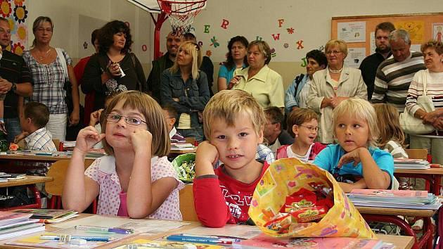 První den ve třídě 1.B na mělnické škole Jindřicha Matiegky.