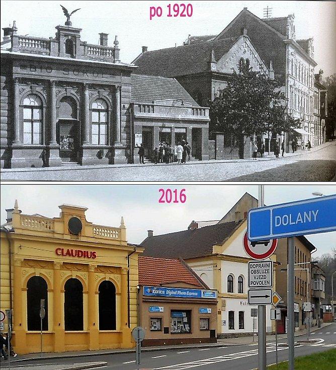 Už za první republiky se stalo ze sokolovny bio Sokol, za stromem je schovaná synagoga.