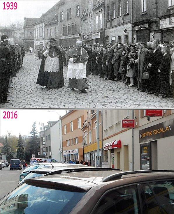 Palackého náměstí. V roce 1939 přijel do Kralup kardinál Kašpar.
