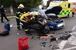 K dopravní nehodě osobního automobilu a motocyklu vyjela jednotka HZS Neratovice.