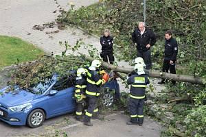 Na parkovišti mezi panelovými domy na sídlišti V Zátiší v Kralupech nad Vltavou skácel ve čtvrtek 21. října vichr strom na parkující auto. Na místě zasahovali hasiči.