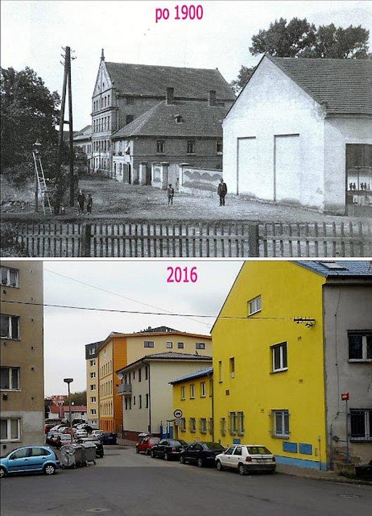 Pohled z křižovatky ulic Havlíčkova a Rybova, kde stával kralupský mlýn na konci Zákolanského potoka.