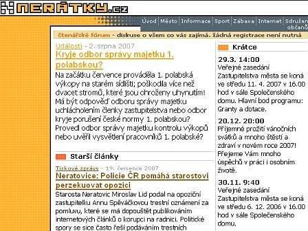 Webový server www.neratky.cz, kde se prý Anna Spěváčková dopustila pomluvy.