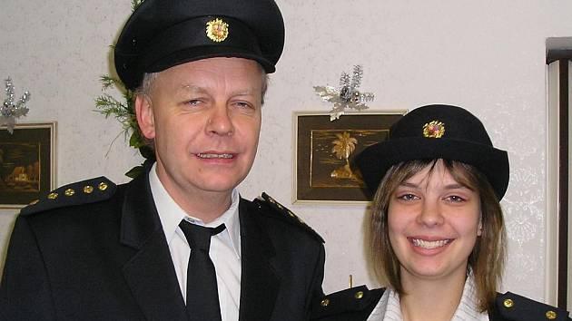 Starosta SDH Tuhaň František Dvořák s dcerou