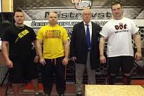 TJ KRALUPY na mistrovství republiky v RAW trojboji: (zleva) Petr Klicha, Zdeněk Tuháček, Ivan Veselý a Luboš Šos.