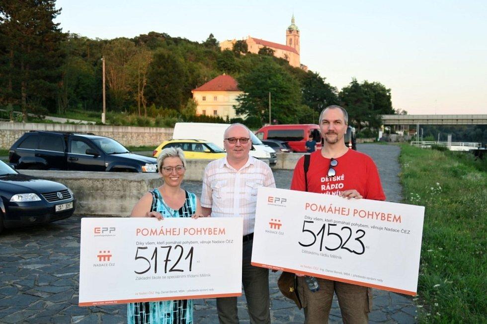 Symbolické šeky předal zástupcům obou obdarovaných organizací Miroslav Krebs, ředitel pro správu a bezpečnost společnosti Energotrans, která v rámci Skupiny ČEZ provozuje nedalekou Elektrárnu Mělník.