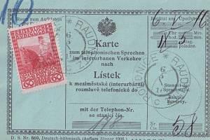 Telefonní karta – poštovní formulář s vylepenou výplatní poštovní známkou 60h; voláno z pošty Roudnice nad Labem do Ústí nad Labem 6. května 1916.