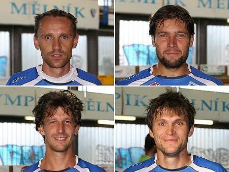Zleva: Pavel Runt (Alfa Liberec) , Aleš Fiala(1. HFC Ústí),  Václav Spal (Eco Investment) a vpravo dole Milan Bouška (Eco Investment).
