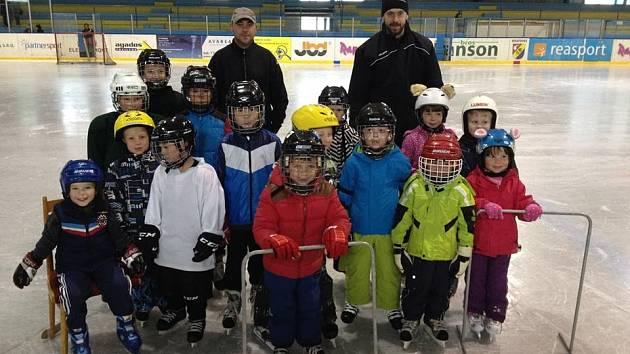 NA PRVNÍM TRÉNINKŮ neratovických Buldoků se trenérům sešlo patnáct adeptů ledního hokeje.