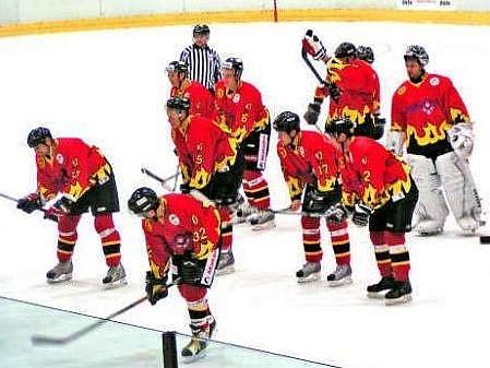 Vítězná radost mělnických hokejistů po domácím utkání s HC Řisuty (4:2).