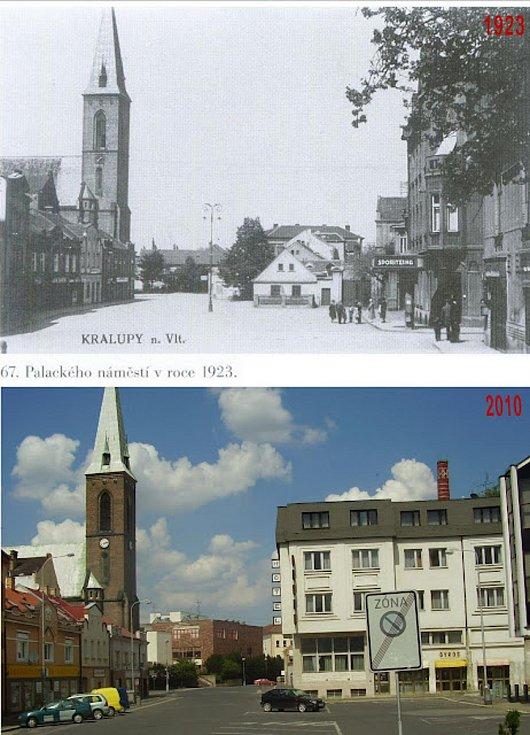 Kralupské náměstí s kostelem.