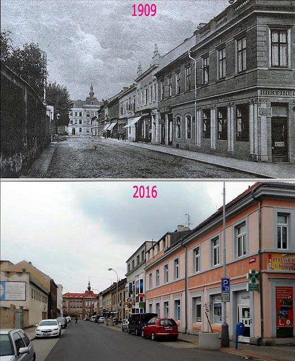 Žižkova ulice. Na jejím konci stojí škola na Komenského náměstí.