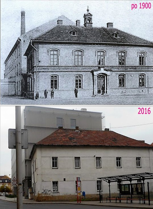 První kralupská škola z roku 1867. Zvon ve věžičce, poté co sloužil jako umíráček je nyní v muzeu.