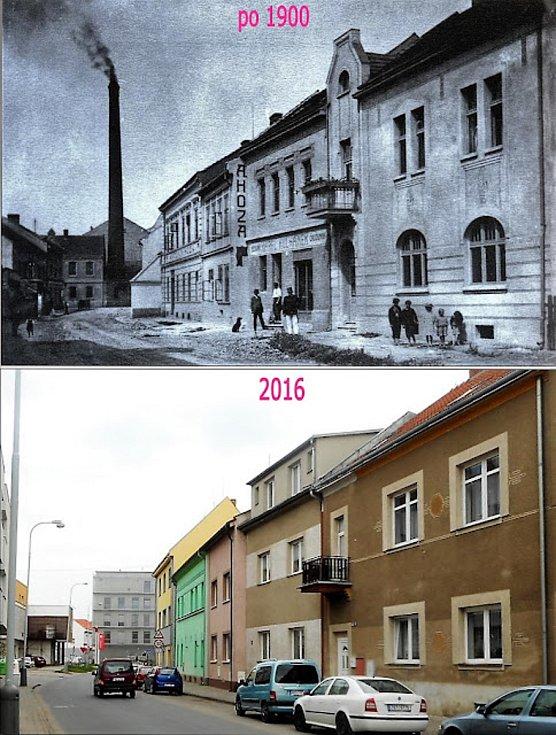Havlíčkova ulice, pohled  směrem ke Komenského náměstí, kouřící je pivovarský komín.