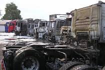 Požár kamionů v Brozánkách.