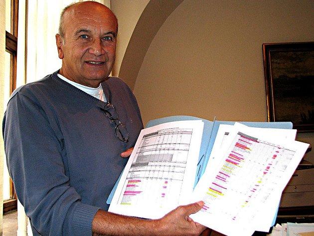 Místostarosta Jaromír Kovářík s proškrtanou nultou verzí návrhu rozpočtu na příští rok.