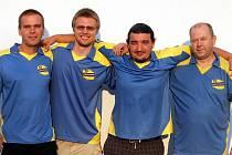 Stolní tenisté TJ Neratovice C - zleva: Jaroslav Šlechta, Jan Košatý, Petr Weisser a Ivan Salmon.
