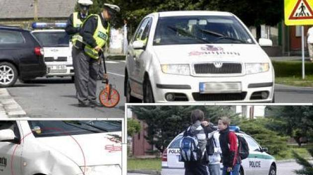 MÍSTO NEHODY.  Podle policistů chlapec vběhl autu přímo na blatník. Promáčklé plechy jsou patrné.
