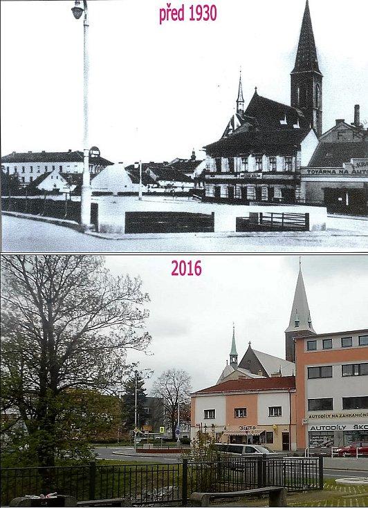 Jiráskova ulice z přechodu přes Zákolanský potok. Před kostelem bývalý Macákův pohřební ústav, vedle Kratinova továrna.
