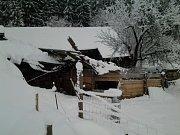 Přístřešek pro hospodářská zvířata neunesl váhu sněhu..