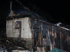 Požár dřevěnice v Horní Bečvě.
