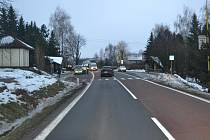 Místo střetu osobního vozu s patnáctiletou chodkyní. Horní Lideč, středa 18. prosince 2013