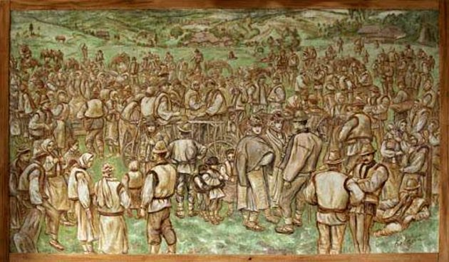 Obraz Huculská svatba od akademického malíře Jana Kobzáně.