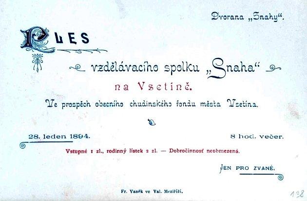 Pozvánka Snahy na ples 1894