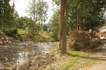 Při zpevňování břehů říčky Senice museli pracovní Povodí Moravy odstranit několik stromů. To se některým místním příliš nelíbí.
