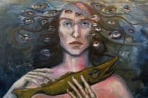 Olejomalba Johany Proislové (olej 65X80 cm), kterou autorka věnovala do dobročinné online aukce na podporu obnovy řeky Bečvy.