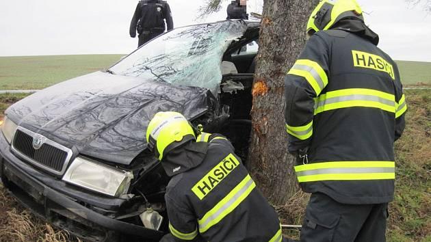Sobotní nehoda u Kelče na Vsetínsku 11. 1. 2020
