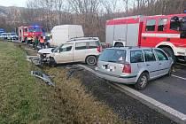 Dopravní nehoda dvou vozidel u Lužné na Vsetínsku.