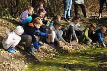 Členové badatelského klubu při Základní škole v Krhové na exkurzi u mokřadu v Hrachovci u Valašského Meziříčí; úterý 15. října 2019