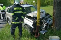 Řidič narazil do stromu i sloupu.