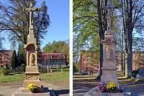 Památeční kříž na takzvaném starém hřbitově v ulici 5. května v Rožnově pod Radhoštěm.